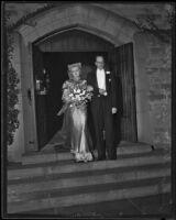 Judge Harry Sewell and Virginia Platt at their wedding, Glendale, 1934