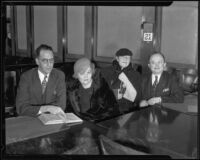 Harry F. Sewell, Vilma Aknay, Sari Fedak, and Herman Shapiro in court, Los Angeles, 1935