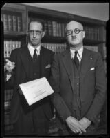 Parole officer Harry J. Brown with Judge Harry F. Sewell, Madera, 1934