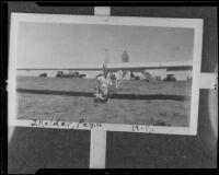 John Kelder seated in a glider, original photo 1927-1935, copy print 1935