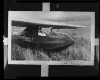 John Kelder seated in a glider, original photo 1927-1935, copy print 1935