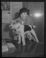Marian Carr with her actor dog, Flash, Los Angeles, 1935