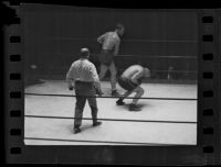 Hank Hankinson during a boxing match, 1935