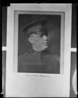 Laurence Hussey, engineer of Palos Verdes Estates, in military uniform, copy print 1935