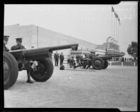 Two motorized Army guns on display at the Automobile Show, Los Angeles, 1935