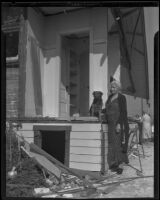 Anna Kindler and dog, Lucky who survived the explosion of 4842 St. Charles Place, Los Angeles, 1935