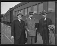 Charles G. Dawes with Harold Remington and Scott F. Ennis at a train station, Los Angeles, 1935
