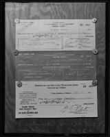 Forged checks of Warden James B. Holohaw, 1935