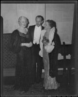 Mr. and Mrs. Owen Churchill and Lucretia Stetson at an event for the Nine o'Clock Players, Los Angeles, 1935