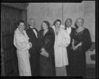 Gretchen Barraclough, Charles Chapman, Ervis Thompson, Ermaline Neuhoff, and Robert Ansteadattendedin front of the Biltmore Theatre where they attended an event for the Nine o'Clock Players, Los Angeles, 1935