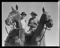 Anna Jackson and Dorothy Wheeler, polo captains, at polo finals, Santa Barbara, 1935
