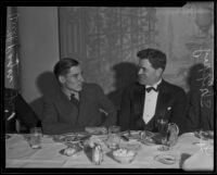 Will Rogers Jr. and Lee Shippey at a Beverly Hills Men's Club meeting at the Victor Hugo Cafe, Beverly Hills, 1935