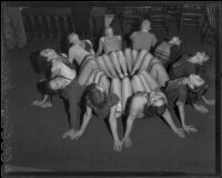 Chorus dancers in rehearsal for W.P.A. sponsored vaudeville show to travel to C.C. C. camps, Los Angeles, 1935