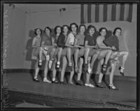Chorus girls in rehearsal for a W.P.A. sponsored vaudeville tour, Los Angeles, 1935