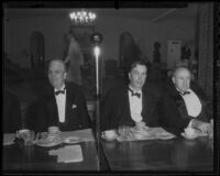 Rufus Bernhard von Kleinsmid, Dr. George F. Zook and Senator Elbert D. Thomas at a banquet, Los Angeles, 1935