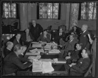 City Council meeting with council members and advisors, Los Angeles, 1935