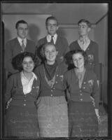 Six new members of the Ephebian Society at Polytechnic High School, 1935