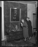 Mrs. Minnie Muchmore and Mrs. Robert Alan at the Ambassador Hotel, where an exhibition of antiques that Mrs. Alan organized was held, Los Angeles, 1935