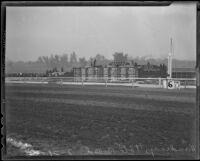 Tote board on the day of the Santa Anita Handicap horse race at Santa Anita Park, Arcadia, 1936