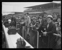 Spectators in the grandstand at the Santa Anita Handicap race, Arcadia, 1936