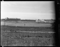 Santa Anita Park seen from a field behind the far turn, Arcadia, 1936