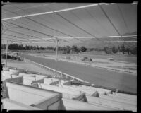 View toward the main track from the clubhouse at Santa Anita Park, Arcadia, 1936