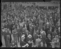 Spectators in the grandstand at Santa Anita Park on Christmas Day, Arcadia, 1935