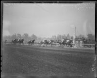 "Race horse ""Top Row"" wins the Santa Anita Handicap race, Arcadia, 1936"