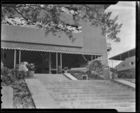 Grandstand entrance with equestrian-themed frieze at Santa Anita Park, Arcadia, 1936