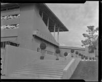 Grandstand and walkway to the clubhouse at Santa Anita Park, Arcadia, 1936