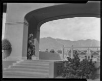 Clubhouse terrace at Santa Anita Park soon after its completion, Arcadia, 1936
