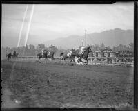 Horse race at Santa Anita Park, Arcadia, 1936