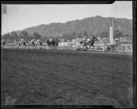 "Race horse ""Whopper"" wins the San Juan Capistrano Invitational Handicap race at Santa Anita Park, Arcadia, 1936"