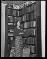 Joyce McGovern in the library of Whittier College, Whittier, 1935