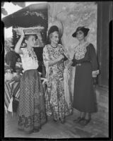 Barbara Edmonston, Dolores Connors and Edith Elmer Hogg at the Pio Pico adobe home, Whittier, 1935