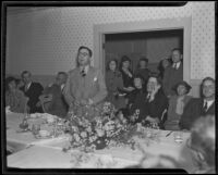 Writer Rupert Hughes speaks at a meeting of the California Writers' Guild, Claremont, 1935