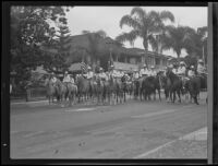 Mounted posse at the Old Spanish Days Fiesta parade, Santa Barbara, 1935
