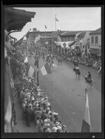 Horseback riders and spectators at the Old Spanish Days Fiesta parade, Santa Barbara, 1935
