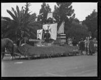"Float decorated as the ""Santa Maria"" in the Old Spanish Days Fiesta parade, Santa Barbara, 1935"