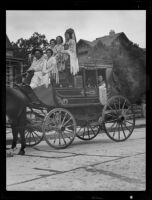 Banning Overland stage coach in the Spanish Days Fiesta parade, Santa Barbara, 1935
