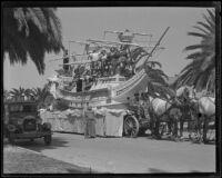 Float in the form of Cabrillo's ship in the Pioneer Days parade, Santa Monica, 1935