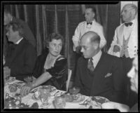 "Elizabeth ""Bunny"" Ryan, Professor Vern Knudsen, and Seumas MacManus at the Chamber of Commerce's Celebrities Dinner, Santa Monica, 1935"
