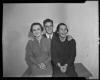 Mary Moore, Harold Newell and Patricia Reilly of USC during Homecoming preparations, Los Angeles, 1935