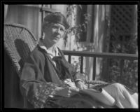 Anne Ellis, author, on the front porch of her home, Santa Barbara, 1935