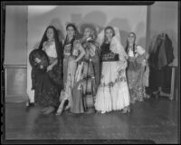 "Performers pose in costume at the Los Angeles Times ""Mexican Night"" event, Los Angeles, 1935"
