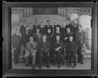 Los Angeles Times city staff pose for a portrait on the steps of City Hall, Los Angeles, 1904 (copy print 1936)