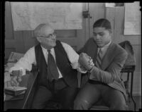 Joe Lewis and Harry Carr arm wrestling, Los Angeles, copy print 1936