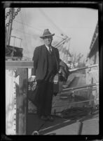 Harry Carr, Los Angeles Times reporter, editor and columnist, arriving from Europe, Los Angeles, 1934