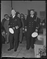 Admiral Joseph M. Reeves and Lieutenant-Commander F. C. Denebrink at the funeral for Harry Carr, Pierce Brothers Mortuary, Los Angeles, 1936