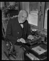 Judge John C. Ord, Civil War veteran and first major of Seal Beach, in his home, Seal Beach